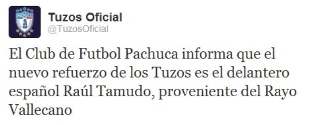 Pachuca anuncia en Twitter su fichaje