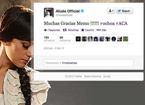 Alizée le agradece a Paco Memo